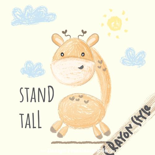 Cute giraffe cartoon illustration vector