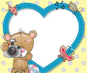 Cute heart frame vector