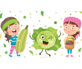 Cute kids and vegetables cartoon vector