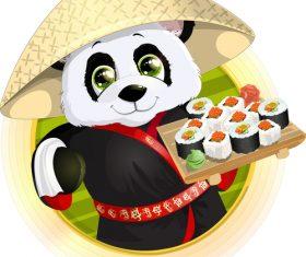 Cute panda chef vector