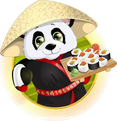 Cute panda chef vector