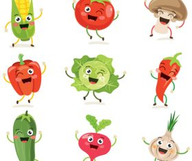 Cute vegetable emoji vector