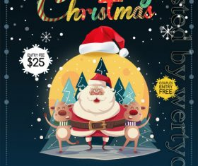 Dark Color Christmas Party Flyer PSD Template