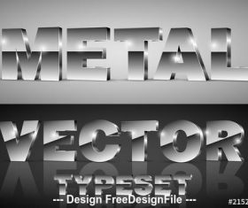 Dark chrome 3D font typeset vector
