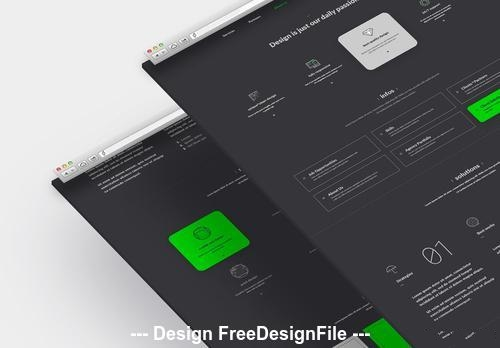 Dark company website layout with green vector