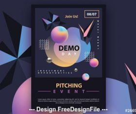 Dark futuristic flyer with colorful gradient 3D geometric vector