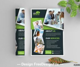 Dark gray and green elements business flyer vector