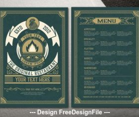 Dark green background restaurant menu vector