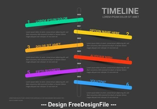 Dark info chart timeline bright colors vector