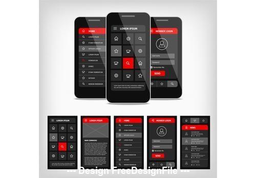 Dark mobile user interface vector
