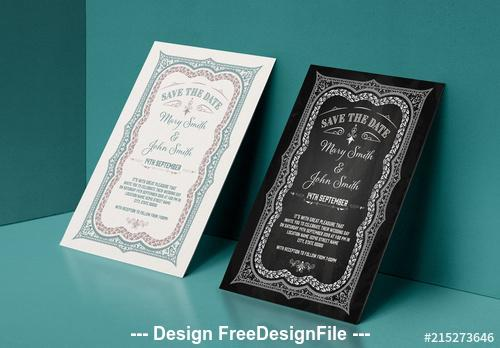 Date layout with ornamental border vector