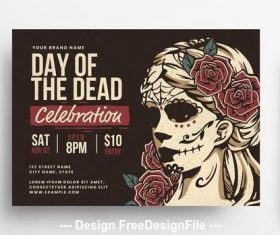 Day of the dead flyer with illustrative vector
