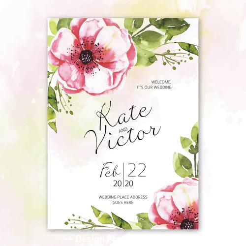 Decorative flowers invitation wedding watercolor vector