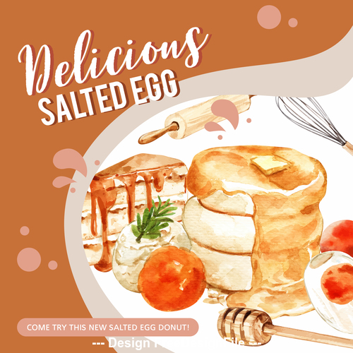 Delicious dessert watercolor illustration vector