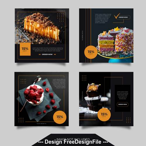 Delicious pastry promotion templates vector