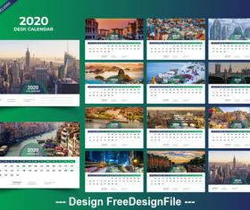 Desk calendar 2020 vector green template