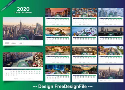Desk calendar 2020 vector green template