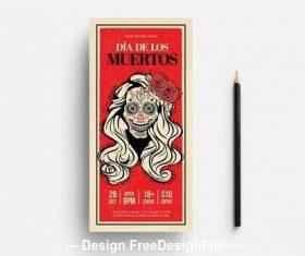 Dia de los muertos flyer with illustrated skull vector