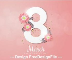 Digital and flower composition Womens day greeting card vector