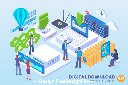 Digital download vector concept