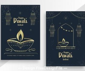 Diwali festival poster with gold vector