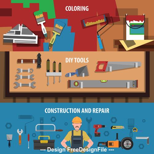 Diy tools banner vector