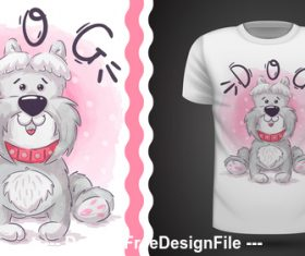 Dog cartoonT-shirt design card vector