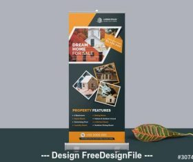 Dremam home roll-up banner vector