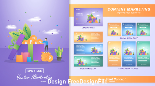 Earn point concept vector