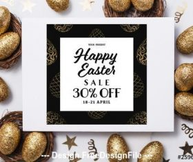 Easter sale banner with gold patterned eggs vector