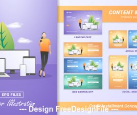 Electronics online marketing template banner vector