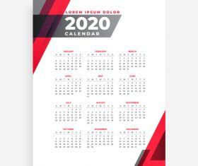 Elegant 2020 geometric new year calendar design template vector
