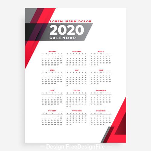Elegant 2020 geometric new year calendar design template vector