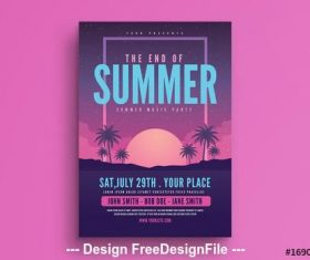 End of summer party flyer vector