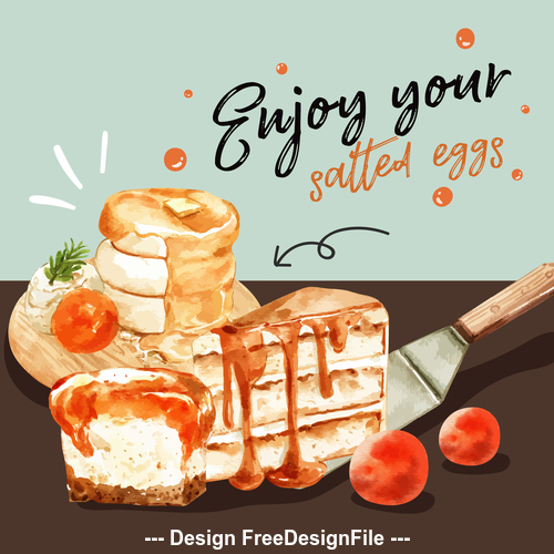Enjoy your pastry watercolor illustrations poster vector