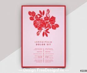 Event flyer layout with floral imagery vector