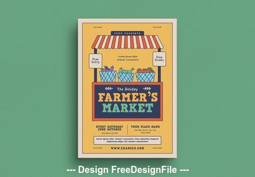 Farmers market event graphic flyer vector
