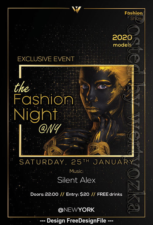 Fashion Night Party Poster and Psd Flyer Template