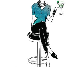 Fashion girl in bar vector