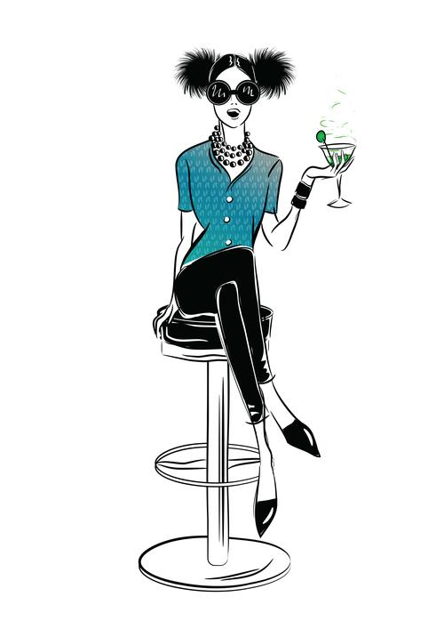 Fashion girl in bar vector