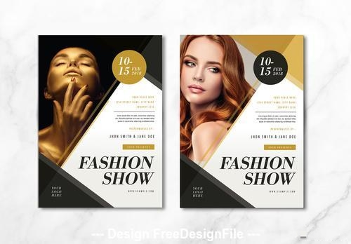 Fashion show flyer gold vector