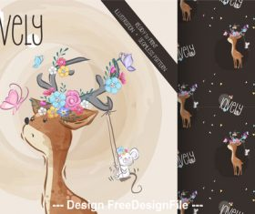 Fawn background cartoon decorative pattern vector