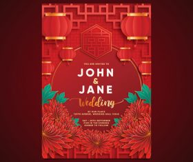 Festive chinese style wedding design vector