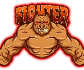 Fighter esport logo vector