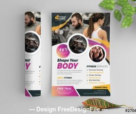 Fitness flyer layout vector