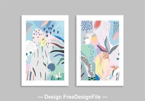 Floral cards set elements vector
