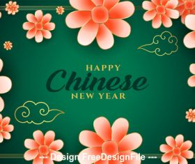 Flower and green background chinese new year greeting card vector
