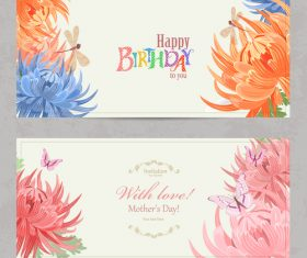 Flower background birthday card vector
