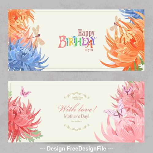 Flower background birthday card vector
