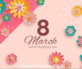 Flower decoration background women's day greeting card vector